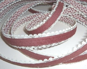 Marsala Vintage Ribbon Velvet On Lace Cerise Pink Fire Brick Red Bows Gift Packaging Wrap