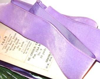 Vintage Velvet Millinery Ribbon Lavender Purple Swiss Rayon Velvet Grayblock 1940's Parma Violet 1 yard