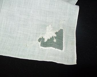 Vintage handkerchief Madeira Embroidery Hankie Natural Linen bridal wedding handkerchief
