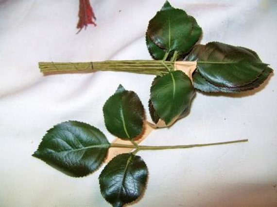 Millinery Flower Rose Leaves Vintage 1940's German Dark Green Floral Stem Craft Supplies WWII