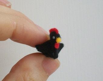 Tiny Black Hen -- miniature chicken tiny chicken felt chicken felted chicken felt animals felt hen miniature hen scale dollhouse chicken