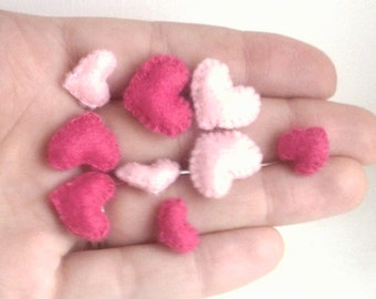 A Handful of Hearts -- sweet tiny plush felt hearts miniature hearts Valentine's day gift Valentine's gift valentine hearts pink hearts