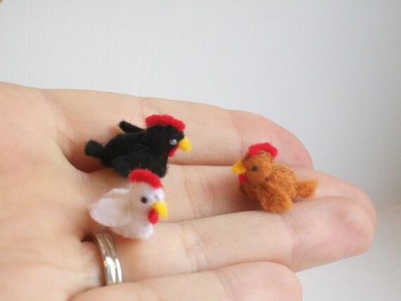 Tiny Chicken Trio - miniature chickens felt chickens feltd chickens felt hens tiny hen miniature hens felt farm animals white chicken