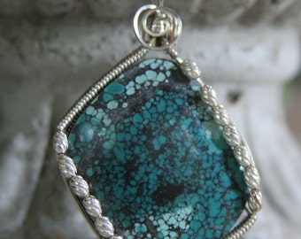 Spiderweb Turquoise Wire Wrapped Pendant