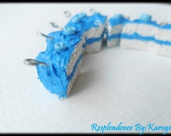 SALE 40% OFF- White cake with Blue icing Necklace