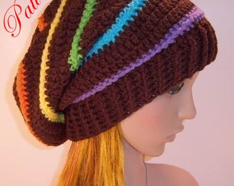 """Candy Rainbow Slouch Hat """"""""""""P A T T E R N"""""""""""""""