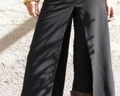 Split skirt- Chic skirt - Black skirt- Plus size skirt - Midi skirt - Layer skirt-burning man