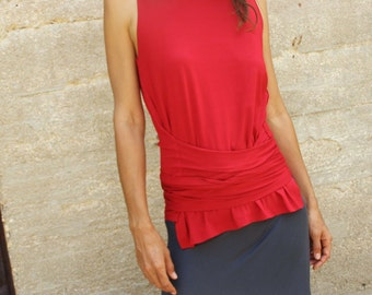 Sleeveless tank top - Womens blouse-Tanks-The Woman warrior tank top/wrap shirt-Sleeveless womens top in red-Yoga top