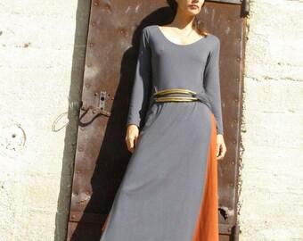 Winter dress-Wrap dress-Long sleeves maxi dress -Tibetan dress-tunic-Womens dresses -wrap dress in grey-custom dress
