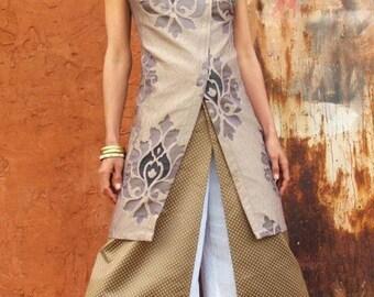 Elegant tunic-The WOMAN WARRIOR TUNIC- Womens tunic-Evening wear-Wedding gown--Art to wear-Asian style-Womens clothing