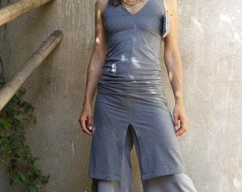 Womens summer dress-The grey CHIC SPLIT DRESS-2 ways dress-Convertible dress-Grey womens tunic