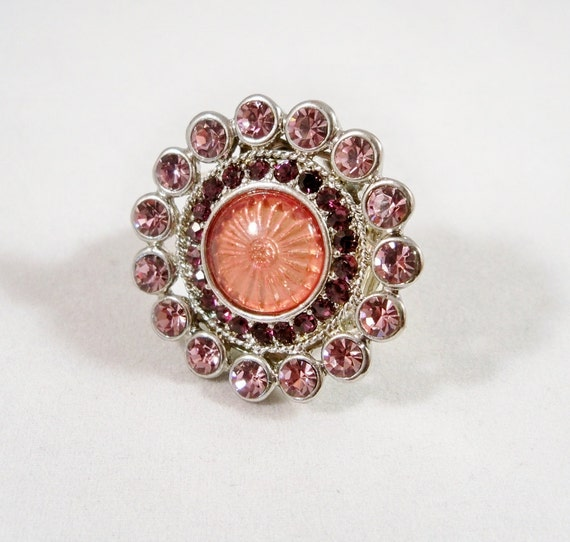 Stretch Cocktail Ring, Pink Crystals and Rhinestone Ring, Womens OOAK