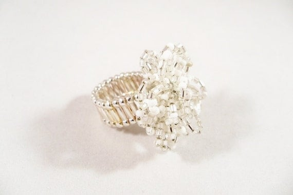 Large Flower Ring, Stretch Ring,  Cocktail Ring,  Statement Ring, White and Silver Stretch Band