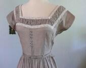 vintage 1950s Dress  // Swiss Dot Latte Day Dress