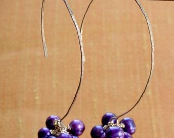 Pearl Earrings. Purple Fresh Water Pearls Bubbles Earrings.  Hand Forged Gold Filled Hoops. Contemporary Earrings. June Birthstone.