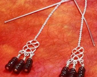 Garnet Silver Earrings.  SALE.  Filigree  Sterling Silver Thread Earrings. Red Garnet Threaders. January Birthstone.