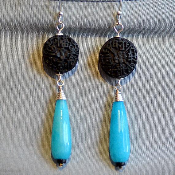 Oriental Blue Aqua Quartz Earrings.  Ocean Blue Quartz Teardrops Earrings. Black Cinnabar Coins Earrings. Asian Style Earrings.