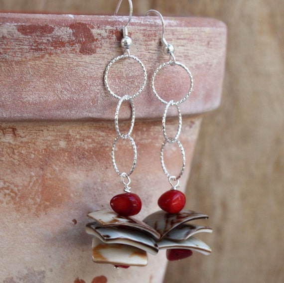 Coral and Shells Sterling Silver Earrings. SHELL STACKS  Earrings. Red Coral Earrings. Handcrafted Dangle Earrings.