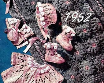 Carriage Cover, Cap, Sacque, Mittens, Bootees Crochet Pattern 723060