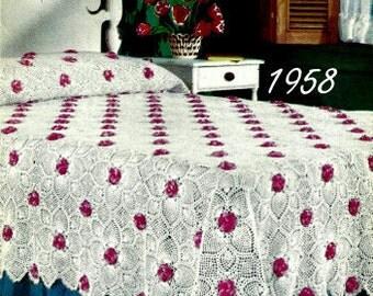 Rose and Pineapple Bedspread Crochet Pattern Vintage 723066