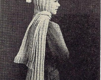 Hooded Scarf Knitting Pattern Vintage 726054