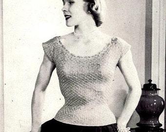 Ribbon and Yarn Evening Blouse Knitting Pattern 726058