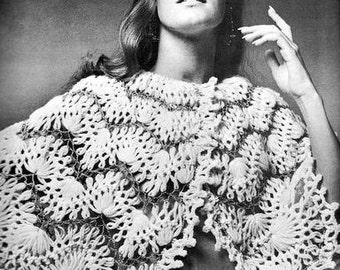 Romantic Cape stole shawl in Hairpin Lace Crochet Pattern Vintage 725006