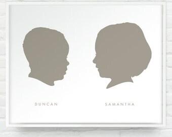 8x10 Print - Two Custom Silhouettes Portraits Print on White - Personalized Girl or Boy Children Name Art