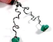 Wire Earrings Malachite and Steel