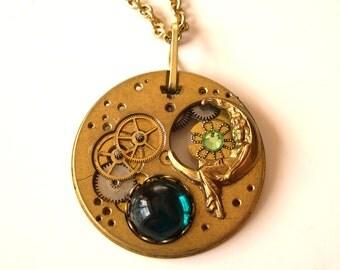 Steampunk Necklace Antique Watch Jewelry