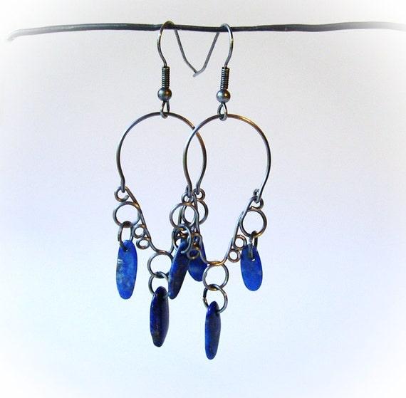 Chandelier Earrings with Lapis Dangles