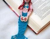 crochet mermaid bookmark, reading character bookmark