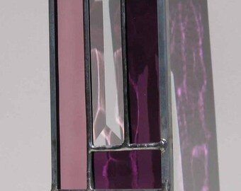 Oblong Purple and Pink Modern Stained Glass Suncatcher, no. 2