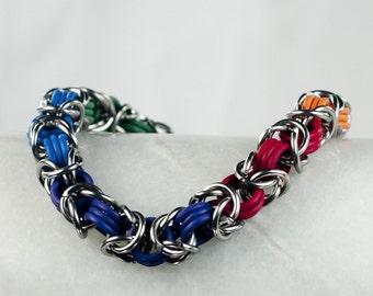 Rainbow - Chainmaille Bracelet  - Stretchy Byzantine