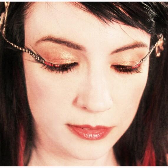 Zebra -  Black & White Striped Feather Eyelashes w/ Red Swarovski Crystals - By Moonshine Baby