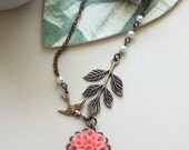 A Soft Coral Chrysanthemum, Dahlia Flower, Flying Bird, and Leaf Branch with Ivory Pearls Necklace. Gift Ideas for Bridesmaids.