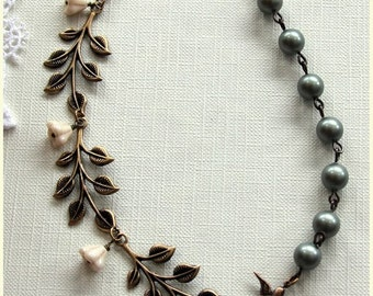 Cascading Leaves, Swarovski Matte Powder Green Pearl Necklace.  Bridesmaids Necklace. Vintage Style Wedding. Romantic.