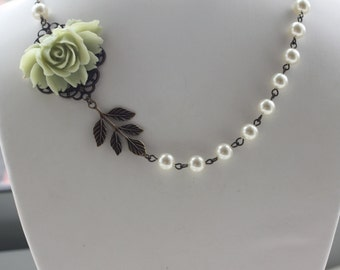 A Soft Green Large Rose Flower, Ivory Swarovski Pearls Vintage Style Necklace.  Romantic.  Bridesmaid Gifts. Maid of Honor.