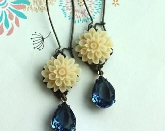 An Ivory Chrysanthemum Flower, Dark Navy Blue Pear Jewel Earrings. Vintage Inspired. Bridesmaids Gifts. Maid of Honor.