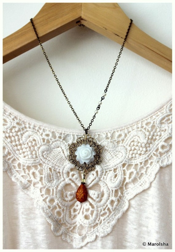 Beautiful You II - An Off White Rose, Light Brown Ornate Bead Necklace. Gift for Her. Bridesmaid Gifts. Gifts for mom.