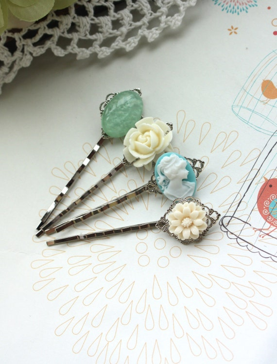 Floral Wonderland No. 4 - Four (4) Pieces Silver Plated Bobby Hair Pins - Bobby Hairpins. Bridesmaids Gifts. For Sister. Set of 4 hairpins.