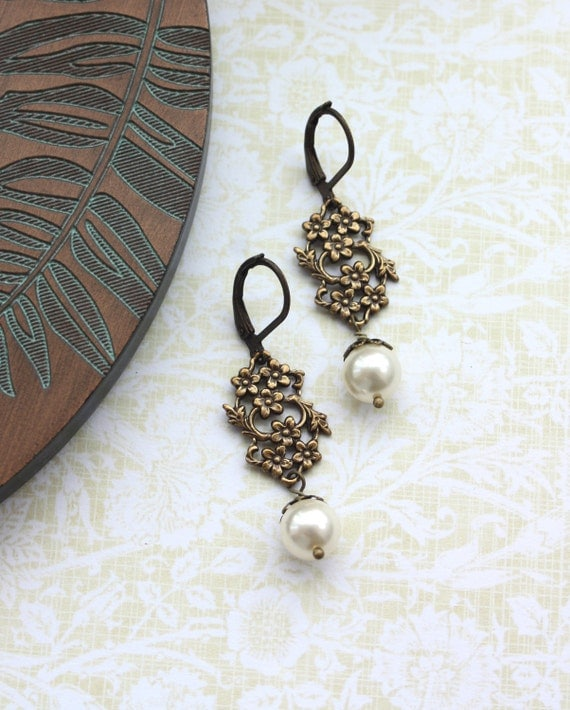 A Floral Antiqued Gold, Swarovski Ivory Glass Pearls Earrings. Bride. Bridesmaids Gifts. Vintage Wedding. Maid of Honor. Sister. For Her.