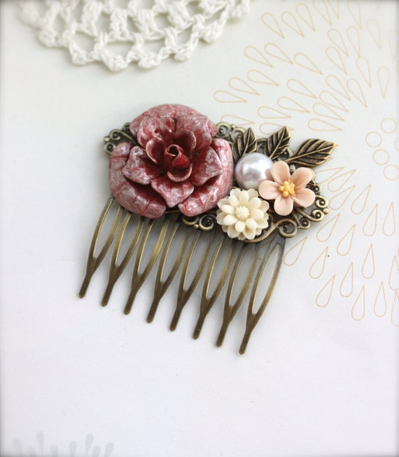 A Woodland Wedding. A Red Rose Flower Vintage Style Collage Hair Comb. Maid Of Honor, Bridesmaids Gifts. Bridal Hair Accessory. For Her