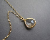 Gold Necklace - Clear Glass Necklace