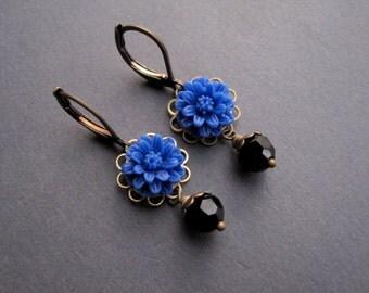 Antique Brass Earrings - Brass Earrings - Daisy Flower Cabochon - Final Sale