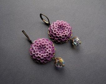 Antique Brass Earrings - Flower Cabochon Earrings - Final Sale
