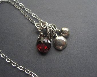 Silver Cherry Necklace - Silver Garnet Briolette Necklace - Modern Gemstone Necklace