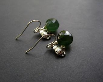 Sterling Silver Fish Earrings - Angel Fish - Chalcedony Earrings - Green Gemstone Briolette Earrings - Nautical Earrings