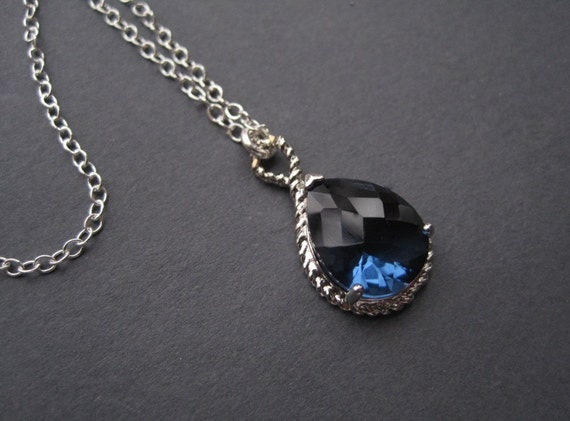 Blue Sapphire Necklace  - September Birthstone Necklace - Silver Necklace