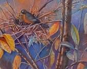 Robin, Nest, Tree  original watercolor  18.5 x 26  in white frame